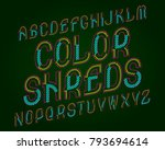 color shreds typeface. colorful ... | Shutterstock .eps vector #793694614