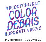 color debris typeface. colorful ... | Shutterstock .eps vector #793694620