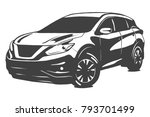 Stock vector suv vector black illustration isolated on white background hand drawn illustration 793701499