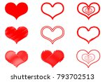 vector red hearts icon set ... | Shutterstock .eps vector #793702513