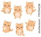 vector set of cute cats on... | Shutterstock .eps vector #793704238