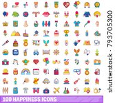 100 happiness icons set.... | Shutterstock .eps vector #793705300
