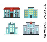 hospital building icon set.... | Shutterstock .eps vector #793705966