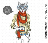retro hipster animal cat with... | Shutterstock .eps vector #793707670