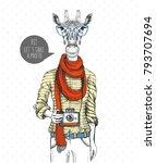 retro hipster animal giraffe... | Shutterstock .eps vector #793707694