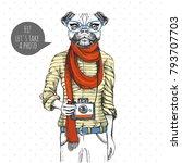 retro hipster animal pug dog... | Shutterstock .eps vector #793707703