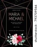 stylish dark geometric wedding... | Shutterstock .eps vector #793709566