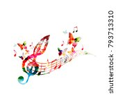 colorful music poster with... | Shutterstock .eps vector #793713310
