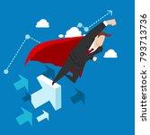 super businessman flying into...   Shutterstock .eps vector #793713736