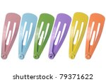 Colored Hair Clips Isolated On...