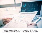 business women reviewing data... | Shutterstock . vector #793717096