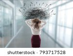 woman in the office stressed... | Shutterstock . vector #793717528
