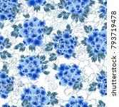 seamless pattern with blue... | Shutterstock .eps vector #793719478