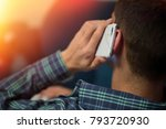 closeup mobile phone in the ear ... | Shutterstock . vector #793720930