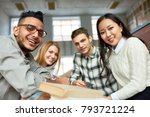 multi ethnic group of cheerful... | Shutterstock . vector #793721224