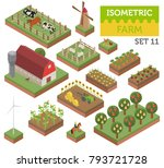 flat 3d isometric farm land and ... | Shutterstock .eps vector #793721728