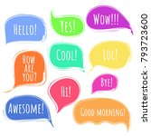 colorful vector speech or... | Shutterstock .eps vector #793723600