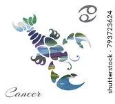 zodiac sign cancer. vector... | Shutterstock .eps vector #793723624