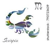 zodiac sign scorpio. vector... | Shutterstock .eps vector #793723639