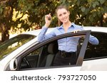happy female driver showing car ... | Shutterstock . vector #793727050