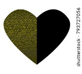 black heart with gold lines on... | Shutterstock .eps vector #793727056