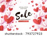 valentine's day sale. offer ... | Shutterstock .eps vector #793727923