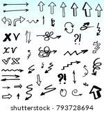 hand drawn doodle vector arrows. | Shutterstock .eps vector #793728694