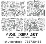 set of music hand drawn doodle... | Shutterstock .eps vector #793730458