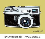 vector sketch style of retro... | Shutterstock .eps vector #793730518