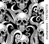 skull and tentacles of the... | Shutterstock .eps vector #793730773