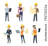 male and female workers of... | Shutterstock .eps vector #793732216