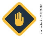 icon of warning hand. flat...