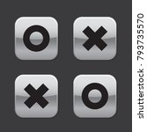 glossy grey o and x rounded... | Shutterstock .eps vector #793735570