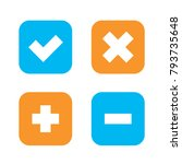 flat checkmark  cross and plus  ... | Shutterstock .eps vector #793735648