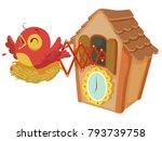 illustration of a wooden cuckoo ... | Shutterstock .eps vector #793739758
