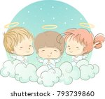 illustration of young angels in ... | Shutterstock .eps vector #793739860