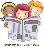 illustration of kids holding... | Shutterstock .eps vector #793741018