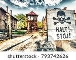 stop death sign at... | Shutterstock . vector #793742626