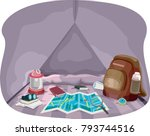 illustration of a map  bag ... | Shutterstock .eps vector #793744516
