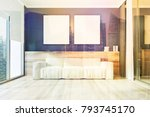 white sofa with two square... | Shutterstock . vector #793745170