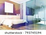 black bedroom corner with a... | Shutterstock . vector #793745194