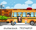 children getting off the school ... | Shutterstock .eps vector #793746919