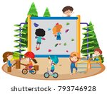 many children riding bike and... | Shutterstock .eps vector #793746928