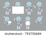 different poses boy teen robot... | Shutterstock .eps vector #793750684
