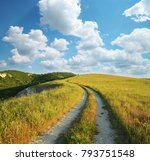 road lane and deep blue sky.... | Shutterstock . vector #793751548