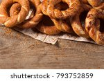 turkish bagel simit on wooden... | Shutterstock . vector #793752859