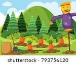 scene with carrot garden and... | Shutterstock .eps vector #793756120