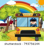 bus driver driving schoolbus on ...   Shutterstock .eps vector #793756144