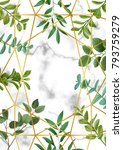 floral template with gold... | Shutterstock .eps vector #793759279