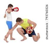 cute little boy training with... | Shutterstock . vector #793760326